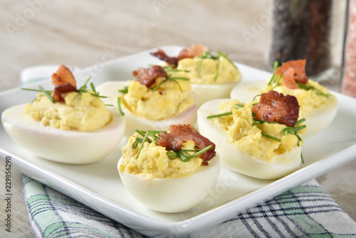 Deviled egg with bacon