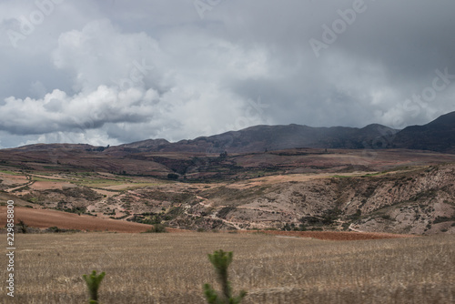 Foto op Canvas Donkergrijs Landscape of sacred valley in Perù.