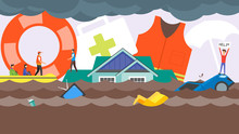 Flood Disaster Rescue Concept. Water Flooding In City Street. Rescue Boat Team Helping People. Human With Help Me Banner On House Roof. Flat Design Vector Illustration
