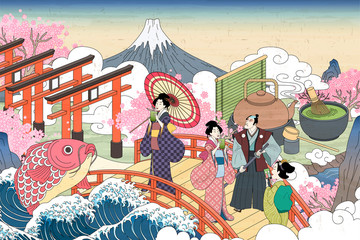 Fototapeta Do herbaciarni Ukiyo-e people enjoying tea
