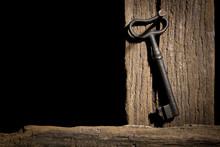 Old Key On A Log