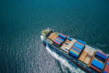Business Shipping Cargo Containers Import Export And Exchange  Fright Ship Open Sea Asia Pacific International From Thailand Aerial Top View