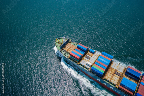 Canvas Print business shipping cargo containers import export and exchange  fright ship open