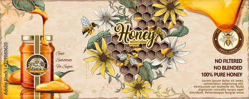 Wild flower honey ads Fototapet