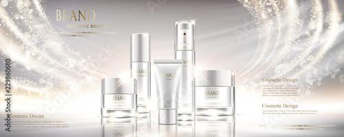 Shiny pearl white cosmetic set Fototapet
