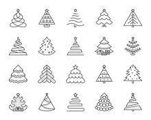 Christmas Tree Simple Black Line Icons Vector Set