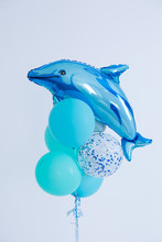 Balloon. Inflatable Balls Of White And Blue Color. Inflatable Dolphin Ball