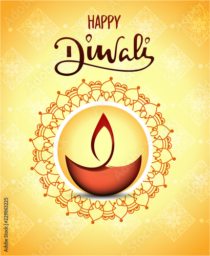 Banner Diwali Festival of lights  lamp. Creative template with decoration elements and shadow on yellow background. Flat vector illustration