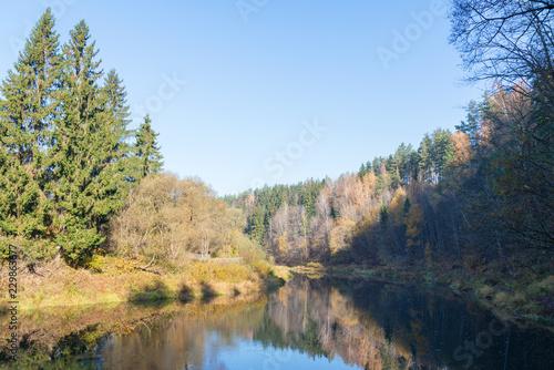 autumn landscape . river in autumn. bright colors of autumn