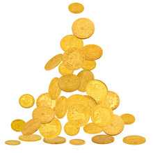 Old Gold Dollar Coins Falling To The Ground Isolated On White