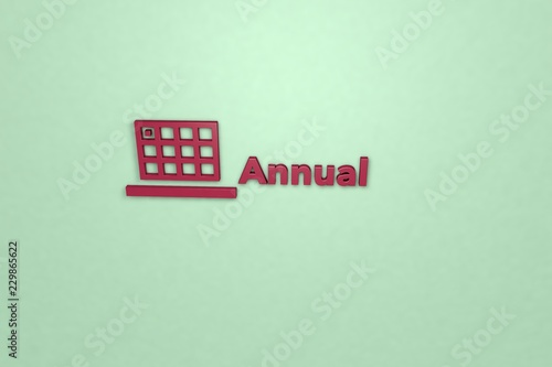 Fotografía  Illustration of Annual with red text on green background