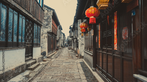 Poster Ruelle etroite Old narrow streets of Tongli in China