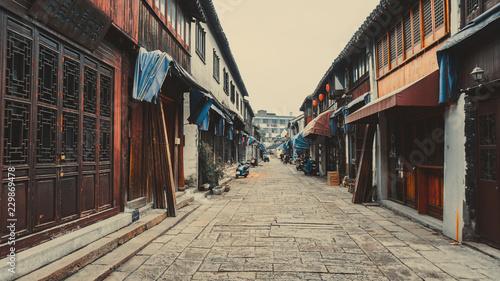 Plakat Stare wąskie uliczki Tongli w Chinach