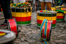 Drummers From An Afro Brazilian Cultural Group At Pelourinho In Salvador, Bahia, Brazil