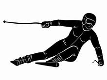 Illustration Of A Skier , Vector Draw