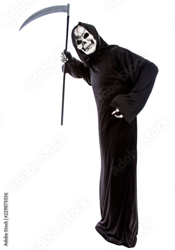Photo  Costume of a skeleton grim reaper wielding a scary scythe