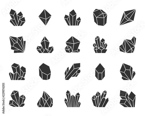 Crystal black silhouette icons vector set Canvas Print