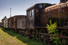 Old Steam Locomotive With Old Wagons Connected