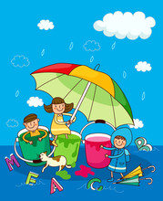 Two Girls And A Boy Under An Umbrella In The Rain
