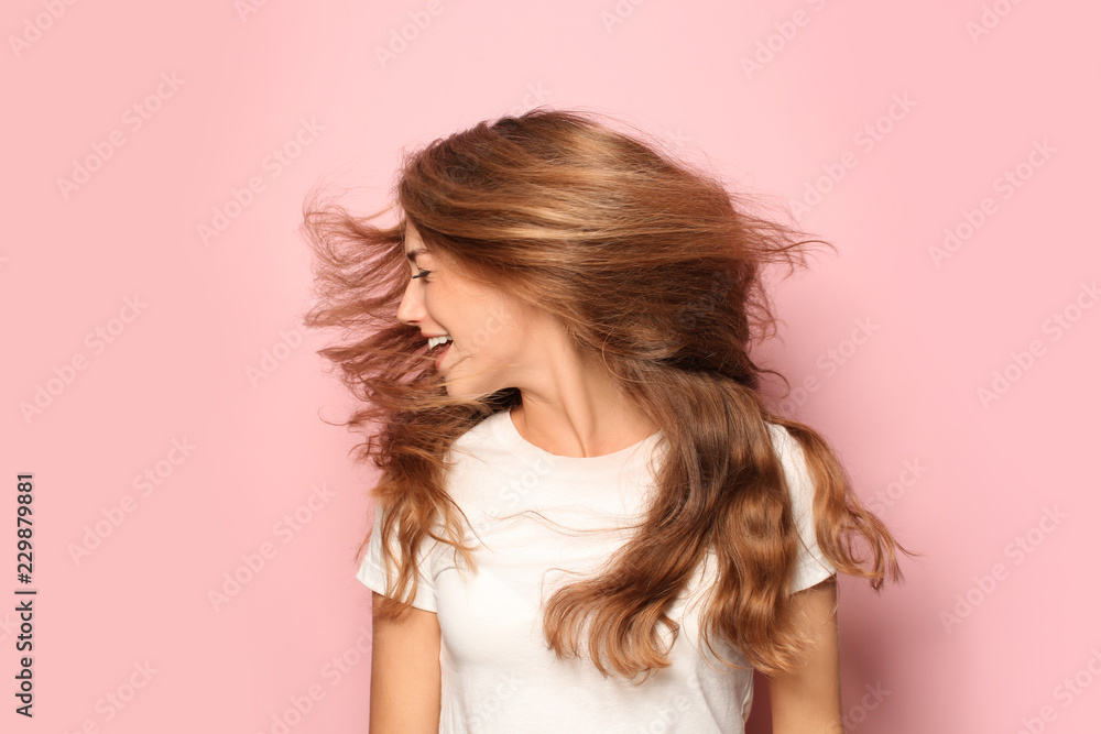 Fototapeta Portrait of beautiful young woman on color background