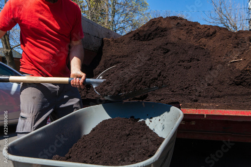 Man with red shirt is using a shovel to fill a grey wheelbarrow with black soil. Collection that highlights the various landscaping tools, seasonal jobs and tasks.