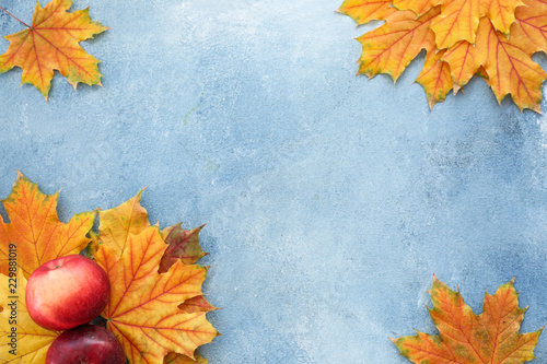 Poster Trees Beautiful autumn leaves with apples on color background
