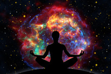 Female Yoga Figure Against  Universe Background With Supernova Explosion.