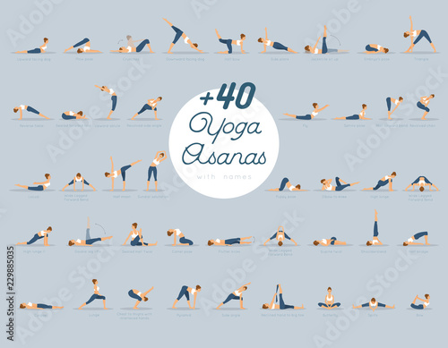 +40 Yoga Asanas with names Wallpaper Mural