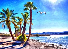 Hand Drawing Watercolor Art On Canvas. Artistic Big Print. Original Modern Painting. Acrylic Dry Brush Background. Wonderful Sea Beach Landscape. Exotic Tropical Resort. Charming Paradise View.