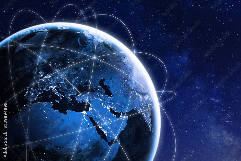 Fototapeta Global connectivity concept with worldwide communication network connection lines around planet Earth viewed from space, satellite orbit, city lights in Europe, some elements from NASA