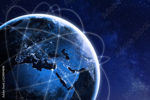 Obraz Global connectivity concept with worldwide communication network connection lines around planet Earth viewed from space, satellite orbit, city lights in Europe, some elements from NASA - fototapety do salonu