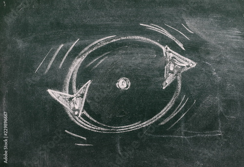 Circular arrows, endless repeating cycle drawn on chalkboard, blackboard backgro Canvas