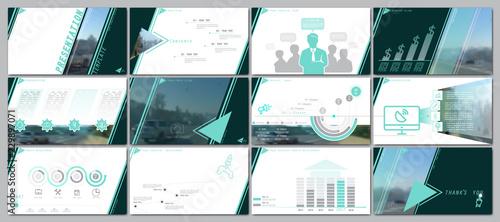 Fotografía  Multifunctional colorful, green presentation template