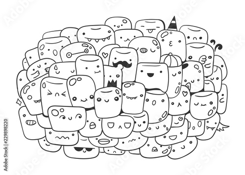 cute marshmallow coloring pages | Cute marshmallow monsters. Doodle coloring page. Hand ...