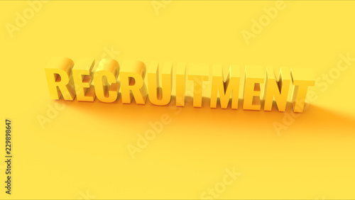 Photo  Bright Yellow 3d Recruitment Sign 3d illustration 3d render