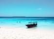 Boat boats on the blue sea ocean paradise island