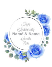 Blue Roses Flowers Watercolor Round Frame Card Vector. Vintage Anniversary Greeting, Wedding Invitation, Thank You Note. Summer Floral Decor. Flower Wreath Frames Bouquets