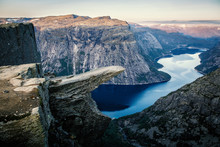 Norway Tourism Attraction - Trolltunga. Troll's Tongue Rock In Hordaland County. Ringedalsvatnet Lake.