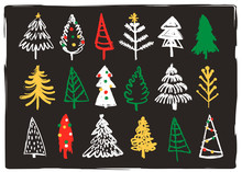 Hand Drawn Christmas Trees. Doodle Vector Set