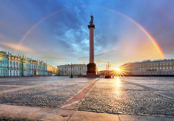 Fototapeta Saint Petersburg with rainbow over winter palace square, Russia
