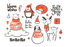 Warm Wishes. Cute Christmas Animals. Graphic Vector Set. All Elements Are Isolated