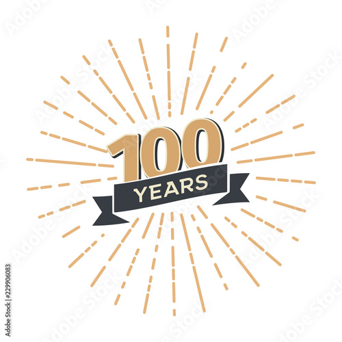 One hundred anniversary retro vector emblem isolated template. Vintage logo hundredth 100th years with ribbon and fireworks on white background Fotomurales
