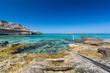 Ibiza - Cala Comte, Blick von der Cala Escondida über das Meer zur Insel .Illa Conillera