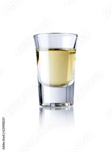 glass of tequila isolated