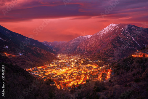 Andorra la Vella skyline at sunset Pyrenees