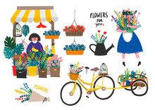 Flower Shop And Various Floral Elements. Hand Drawn Vector Set. All Elements Are Isolated