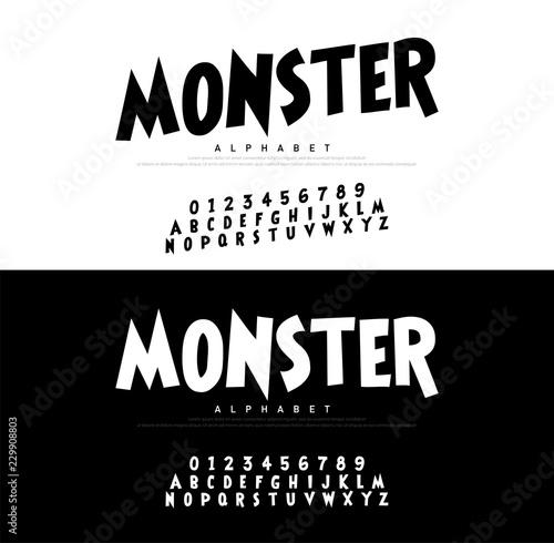 Monster Cartoon Alphabet Scary Typeace Canvas Print