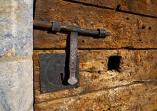 Wooden Vintage Door With Latch Rusty Lock