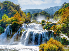 Krka National Park, Croatia. A View Of The Waterfalls