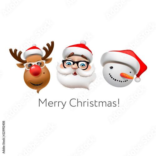 Holiday emoticon set icons, Christmas emoji symbols, Reindeer, santa Claus, snowman, vector illustration Wallpaper Mural